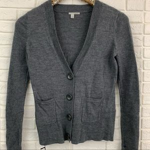 Halogen 100% merino wool gray cardigan sweater
